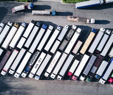 aerial view of parked trucks-min