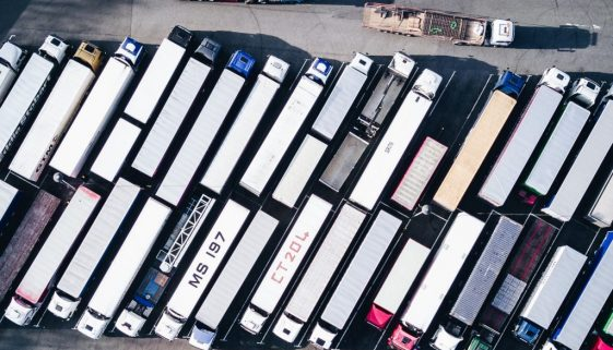 aerial view of parked trucks