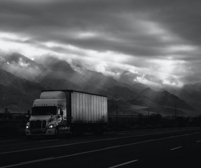 truck on the road bw-min
